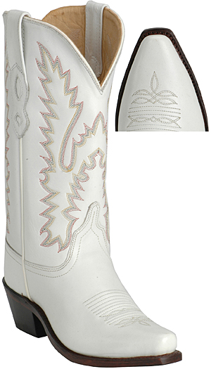 ... Scarpe country stivale in pelle bianco 76475ff19a2a