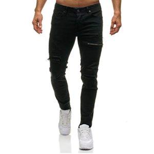 542ce2bf1c Kword Pantaloni di Jeans da Uomo Pantaloni Casual in Denim con Cerniera  Elegante Sportivo da Lavoro Pantaloncini da Jogging Pantaloni Stretti  Casuale