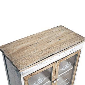 Rebecca Mobili Credenza Mobile Cucina 4 Cassetti 2 Ante Legno Paulownia  Bianco Beige Grigio Shabby Cucina Sala - 81 x 58 x 29 cm (H x L x P) - Art.  ...