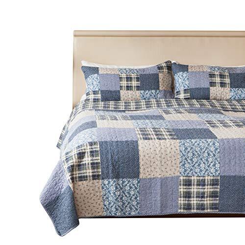 173cm x 224cm SLPR copriletto trapuntato patchwork vintage in stile countryCoastal Dream con 1 federa Copriletto lavabile in lavatrice leggero e reversibile