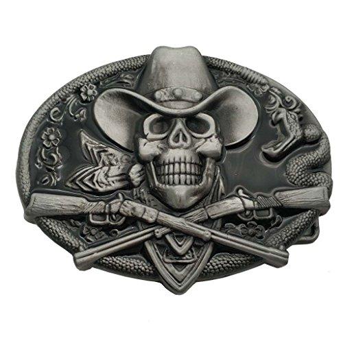 vendite calde b7641 c3130 YONE Fibbia per Cinture Western Cowboy Skull Pirate Rifles Belt Buckle